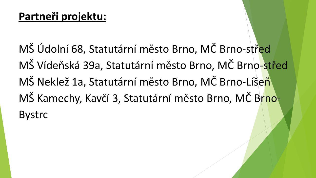 Partneři projektu: MŠ Údolní 68, Statutární město Brno, MČ Brno-střed MŠ Vídeňská 39a, Statutární město Brno, MČ Brno-střed MŠ Neklež 1a, Statutární město Brno, MČ Brno-Líšeň MŠ Kamechy, Kavčí 3, Statutární město Brno, MČ Brno- Bystrc