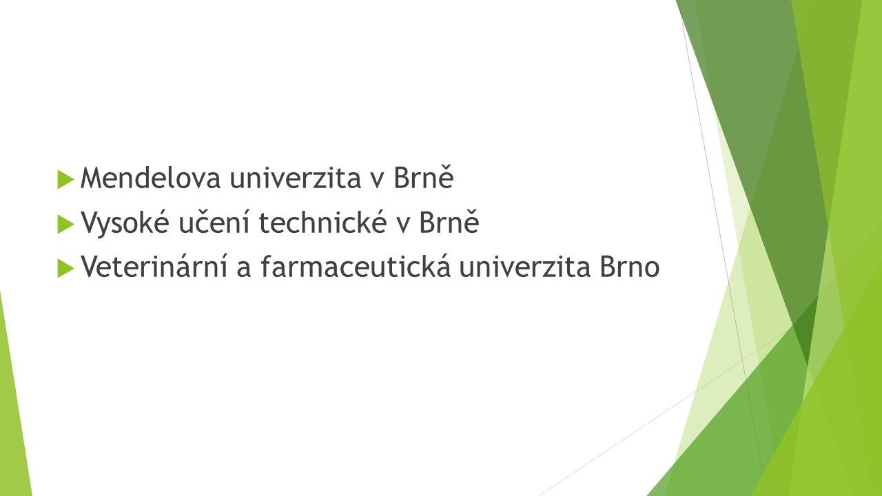  Mendelova univerzita v Brně  Vysoké učení technické v Brně  Veterinární a farmaceutická univerzita Brno