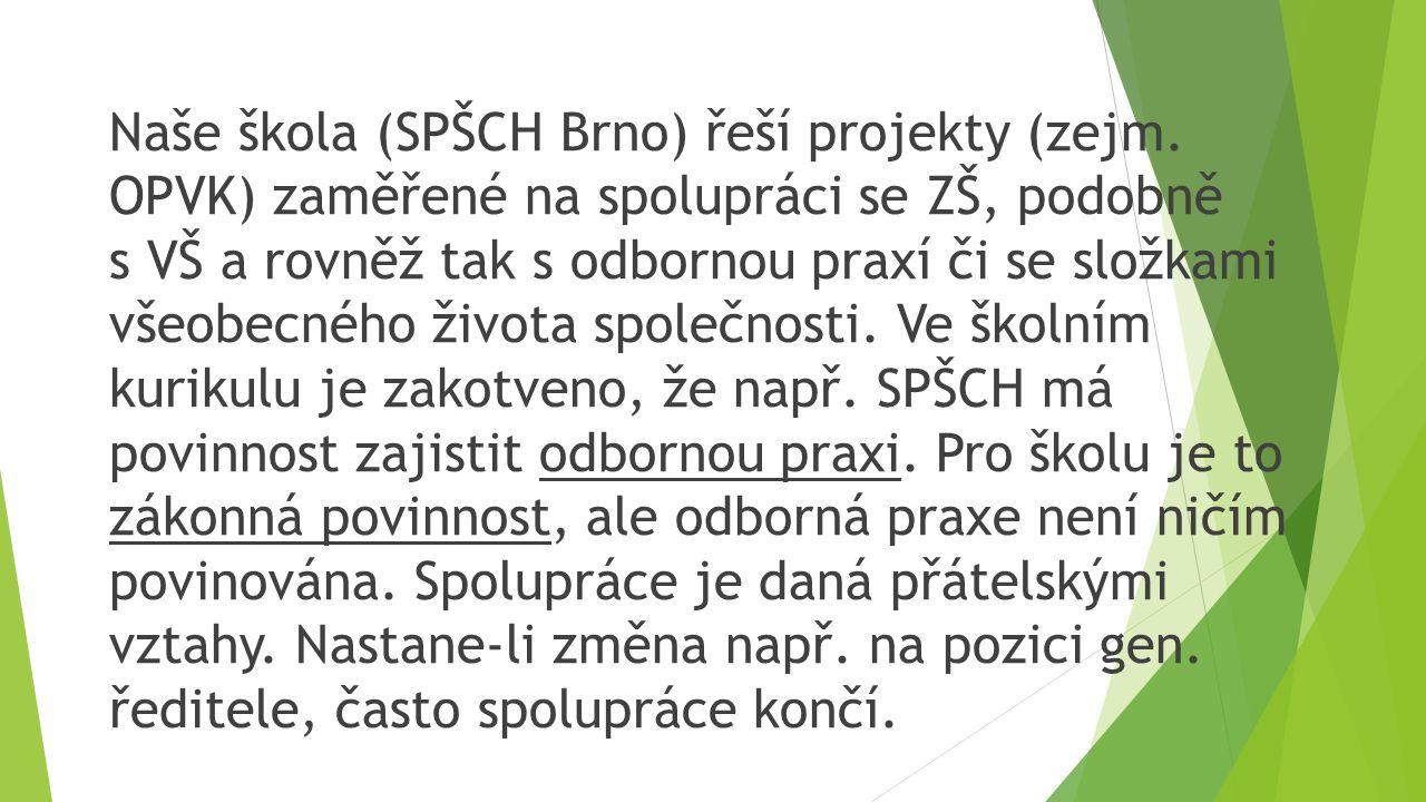 Naše škola (SPŠCH Brno) řeší projekty (zejm.