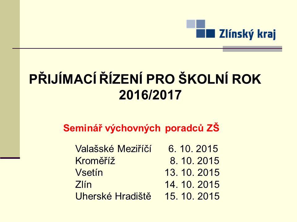 PŘIJÍMACÍ ŘÍZENÍ PRO ŠKOLNÍ ROK 2016/2017 Seminář výchovných poradců ZŠ Valašské Meziříčí 6.