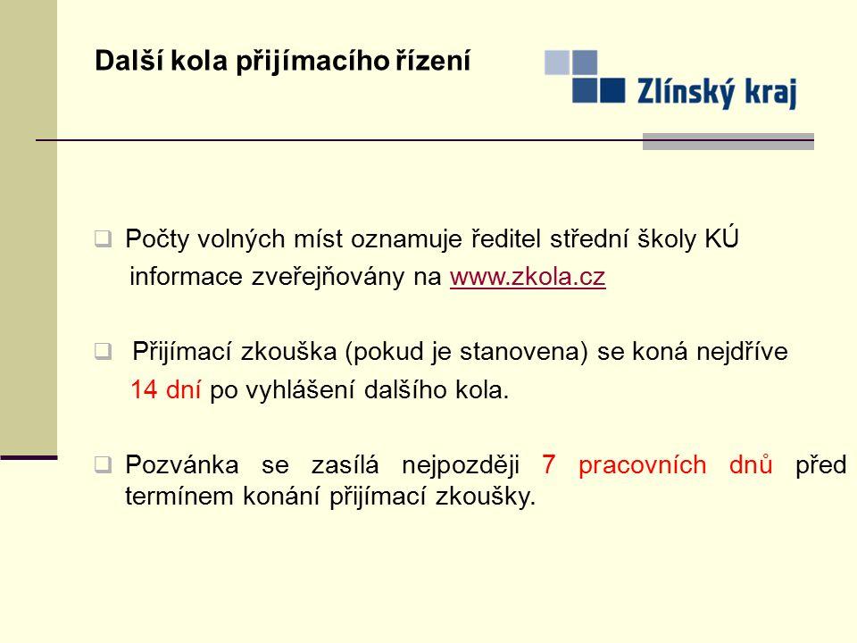 Další kola přijímacího řízení  Počty volných míst oznamuje ředitel střední školy KÚ informace zveřejňovány na www.zkola.czwww.zkola.cz  Přijímací zk