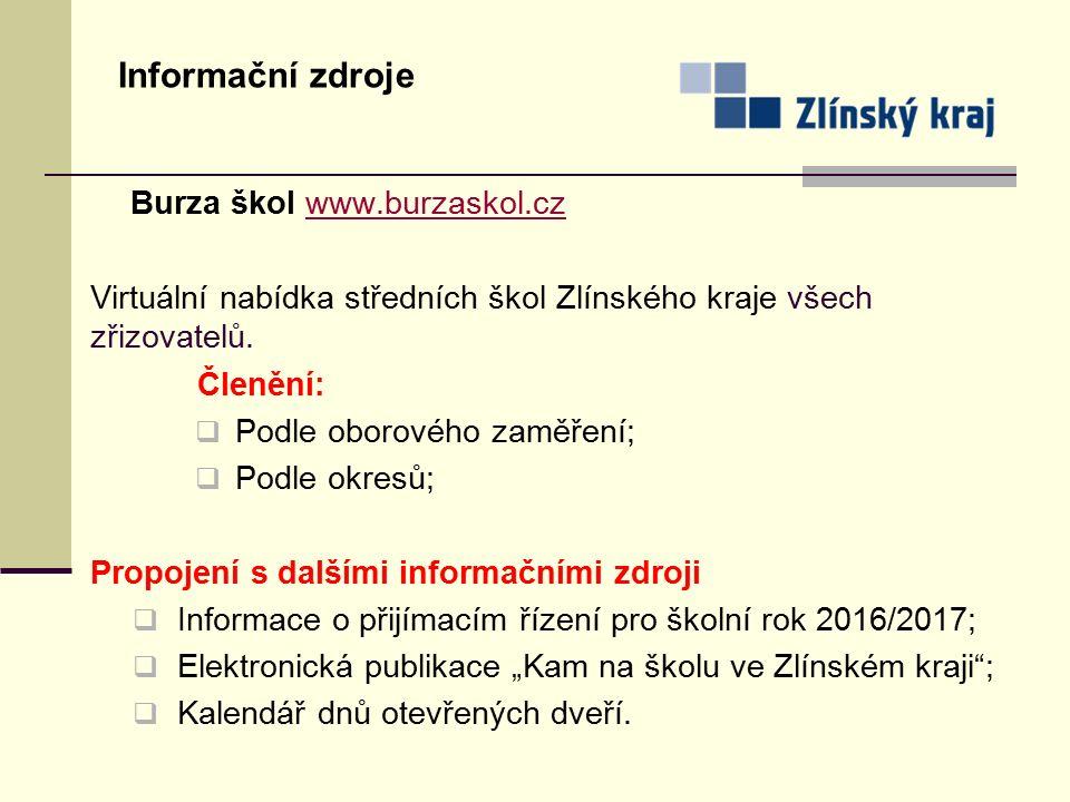 Informační zdroje Burza škol www.burzaskol.czwww.burzaskol.cz Virtuální nabídka středních škol Zlínského kraje všech zřizovatelů. Členění:  Podle obo