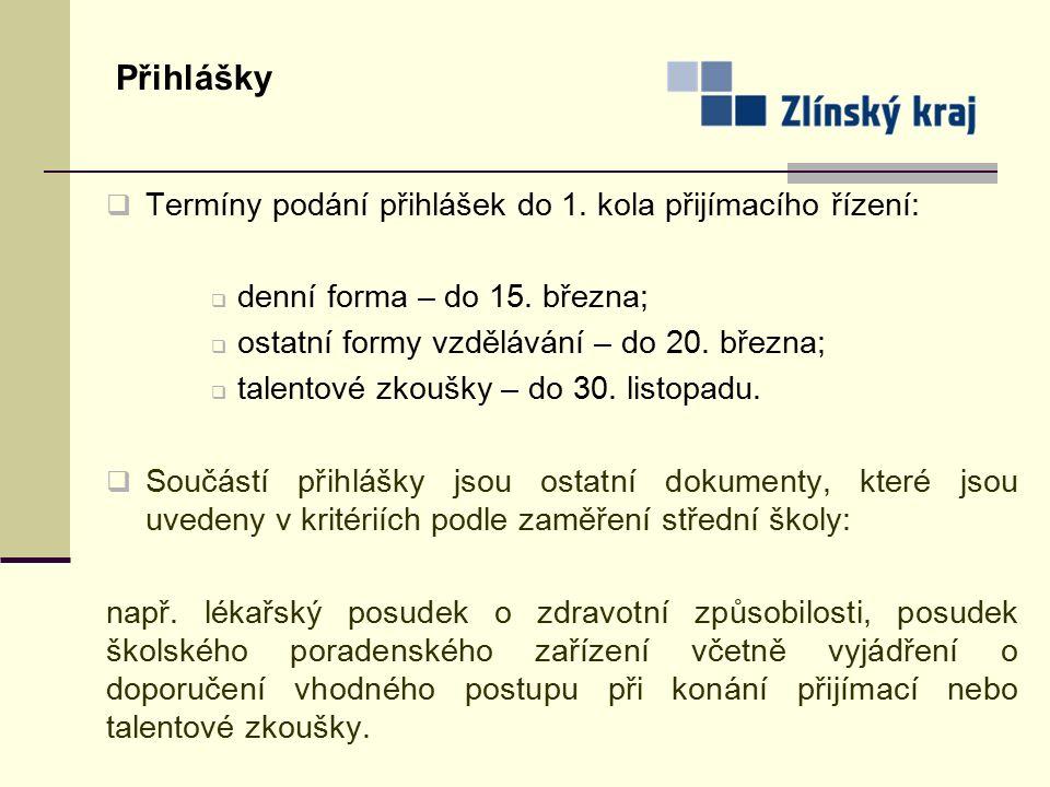 Přihlášky  Termíny podání přihlášek do 1. kola přijímacího řízení:  denní forma – do 15.