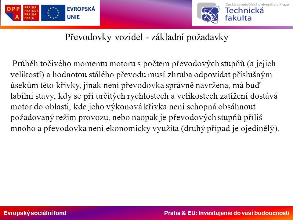 Evropský sociální fond Praha & EU: Investujeme do vaší budoucnosti Průběh točivého momentu motoru s počtem převodových stupňů (a jejich velikostí) a hodnotou stálého převodu musí zhruba odpovídat příslušným úsekům této křivky, jinak není převodovka správně navržena, má buď labilní stavy, kdy se při určitých rychlostech a velikostech zatížení dostává motor do oblasti, kde jeho výkonová křivka není schopná obsáhnout požadovaný režim provozu, nebo naopak je převodových stupňů příliš mnoho a převodovka není ekonomicky využita (druhý případ je ojedinělý).