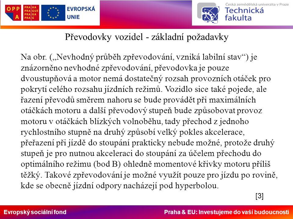 """Evropský sociální fond Praha & EU: Investujeme do vaší budoucnosti Na obr. (""""Nevhodný průběh zpřevodování, vzniká labilní stav"""") je znázorněno nevhodn"""