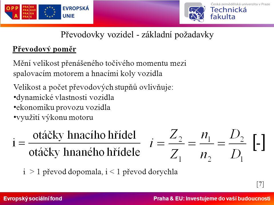 Evropský sociální fond Praha & EU: Investujeme do vaší budoucnosti Převodovky vozidel - základní požadavky Převodový poměr Mění velikost přenášeného točivého momentu mezi spalovacím motorem a hnacími koly vozidla Velikost a počet převodových stupňů ovlivňuje: dynamické vlastnosti vozidla ekonomiku provozu vozidla využití výkonu motoru i > 1 převod dopomala, i < 1 převod dorychla [7][7]