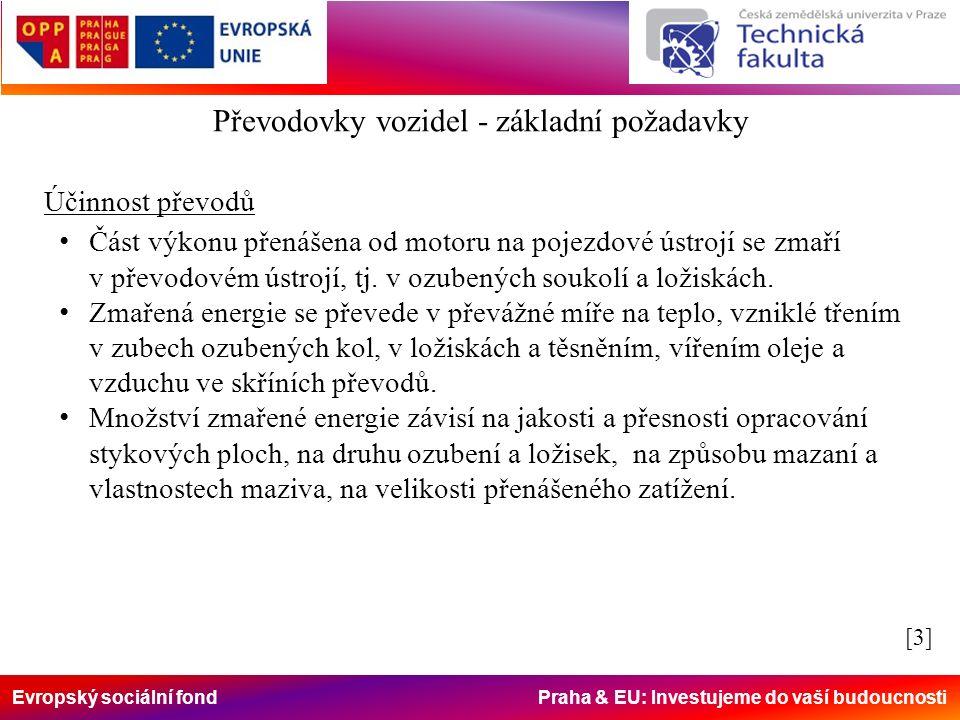 Evropský sociální fond Praha & EU: Investujeme do vaší budoucnosti Účinnost převodů Část výkonu přenášena od motoru na pojezdové ústrojí se zmaří v převodovém ústrojí, tj.