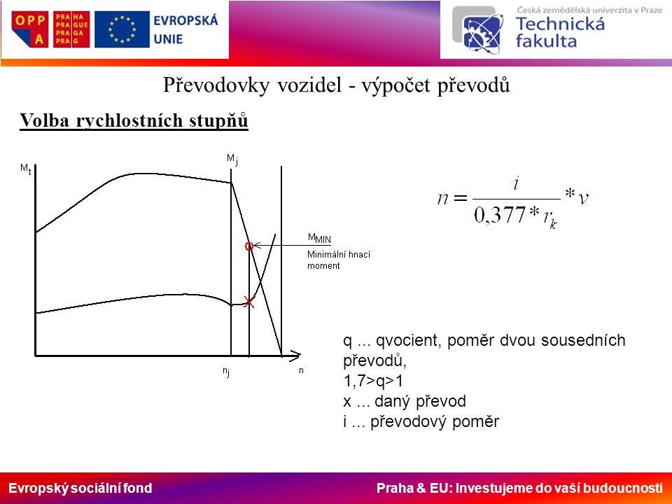Evropský sociální fond Praha & EU: Investujeme do vaší budoucnosti Převodovky vozidel - výpočet převodů Volba rychlostních stupňů q... qvocient, poměr
