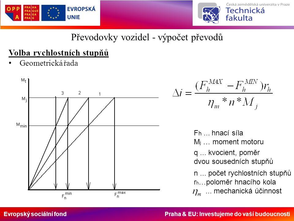 Evropský sociální fond Praha & EU: Investujeme do vaší budoucnosti Převodovky vozidel - výpočet převodů Volba rychlostních stupňů Geometrická řada q...