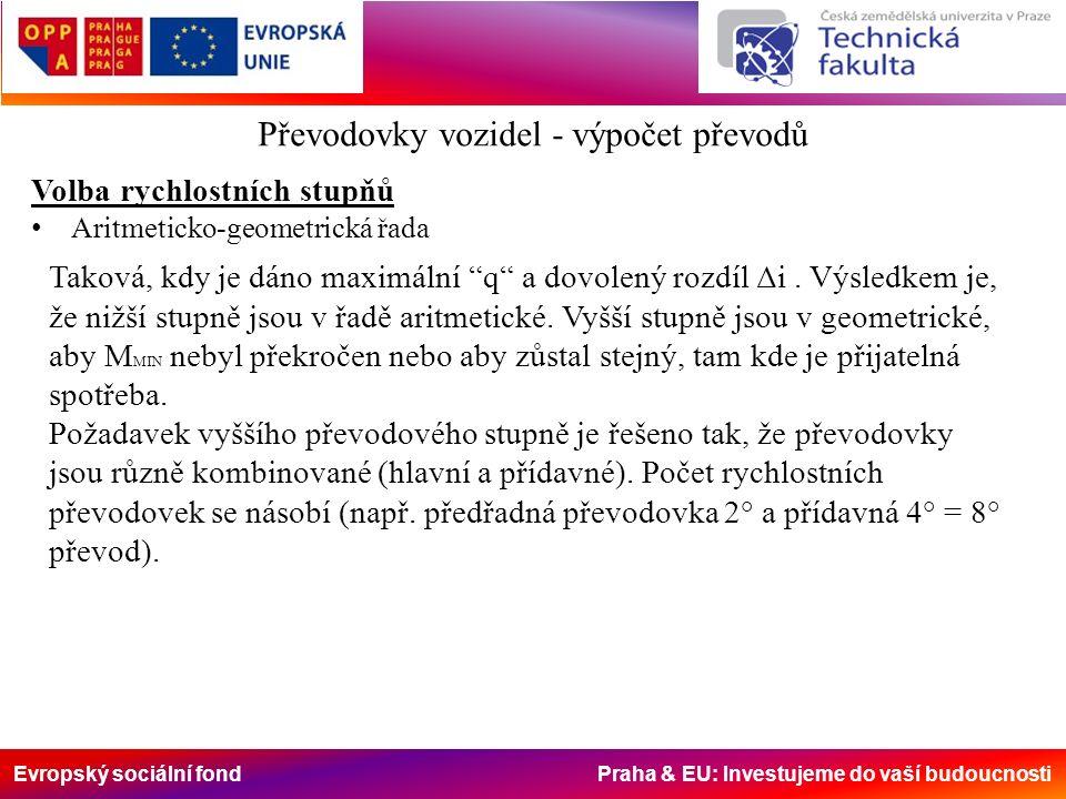 Evropský sociální fond Praha & EU: Investujeme do vaší budoucnosti Volba rychlostních stupňů Aritmeticko-geometrická řada Taková, kdy je dáno maximální q a dovolený rozdíl Δi.