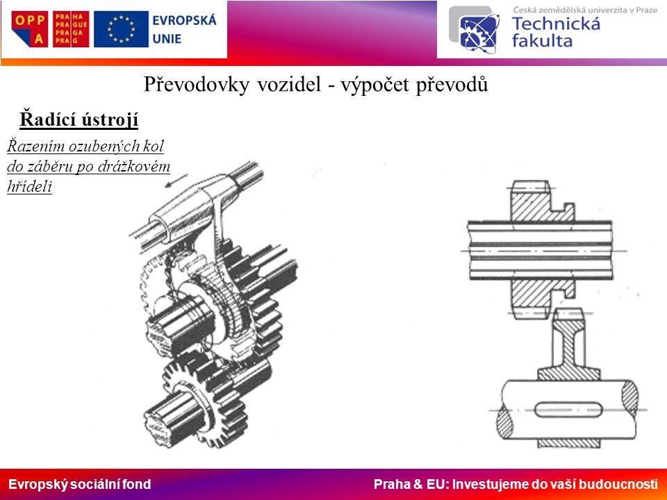 Evropský sociální fond Praha & EU: Investujeme do vaší budoucnosti Převodovky vozidel - výpočet převodů Řadící ústrojí Řazením ozubených kol do záběru po drážkovém hřídeli