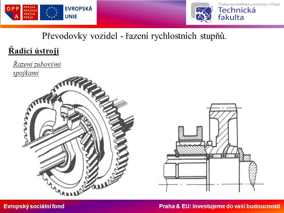 Evropský sociální fond Praha & EU: Investujeme do vaší budoucnosti Řadící ústrojí Převodovky vozidel - řazení rychlostních stupňů. Řazení zubovými spo