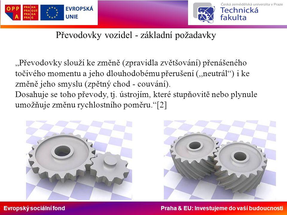 """Evropský sociální fond Praha & EU: Investujeme do vaší budoucnosti Převodovky vozidel - základní požadavky """"Převodovky slouží ke změně (zpravidla zvětšování) přenášeného točivého momentu a jeho dlouhodobému přerušení (,,neutrál ) i ke změně jeho smyslu (zpětný chod - couvání)."""