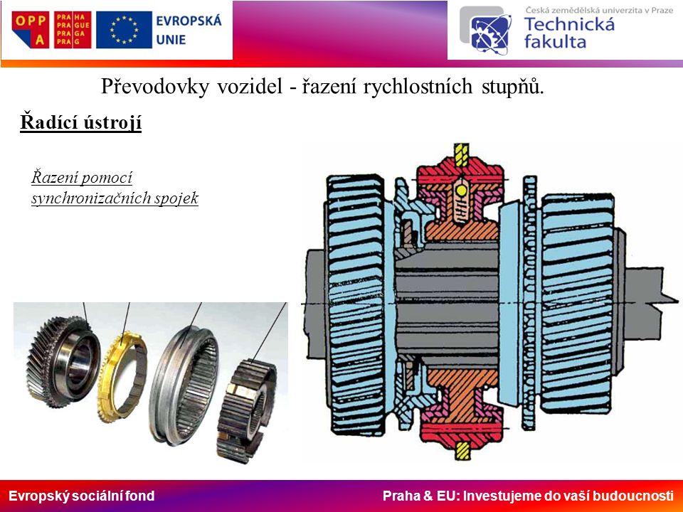 Převodovky vozidel - řazení rychlostních stupňů. Řadící ústrojí Řazení pomocí synchronizačních spojek