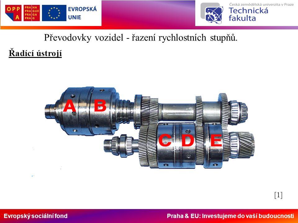 Evropský sociální fond Praha & EU: Investujeme do vaší budoucnosti Převodovky vozidel - řazení rychlostních stupňů. Řadící ústrojí [1][1]