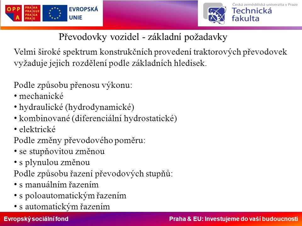 Evropský sociální fond Praha & EU: Investujeme do vaší budoucnosti Převodovky vozidel - základní požadavky Velmi široké spektrum konstrukčních provede