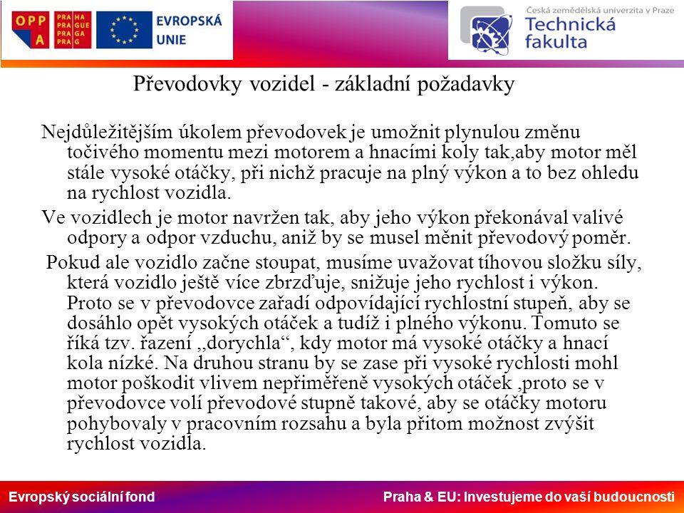 Evropský sociální fond Praha & EU: Investujeme do vaší budoucnosti Nejdůležitějším úkolem převodovek je umožnit plynulou změnu točivého momentu mezi motorem a hnacími koly tak,aby motor měl stále vysoké otáčky, při nichž pracuje na plný výkon a to bez ohledu na rychlost vozidla.
