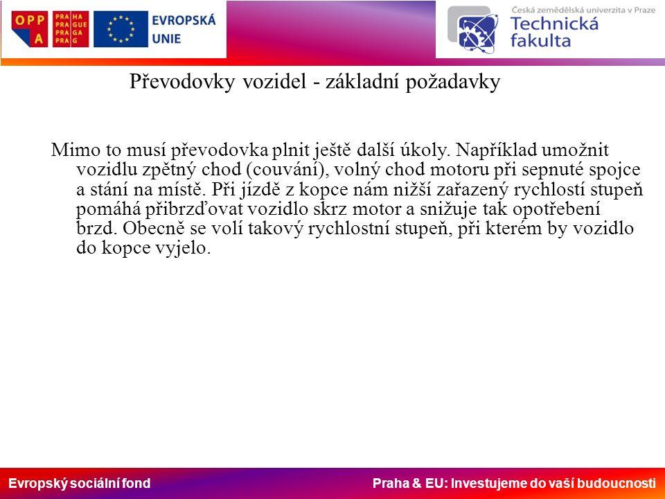 Evropský sociální fond Praha & EU: Investujeme do vaší budoucnosti Převodovky vozidel - výpočet převodů Volba rychlostních stupňů q...