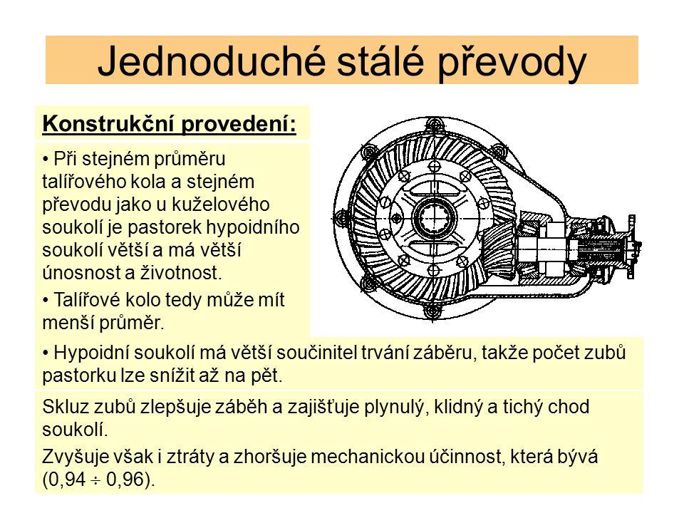 Konstrukční provedení: Jednoduché stálé převody Při stejném průměru talířového kola a stejném převodu jako u kuželového soukolí je pastorek hypoidního