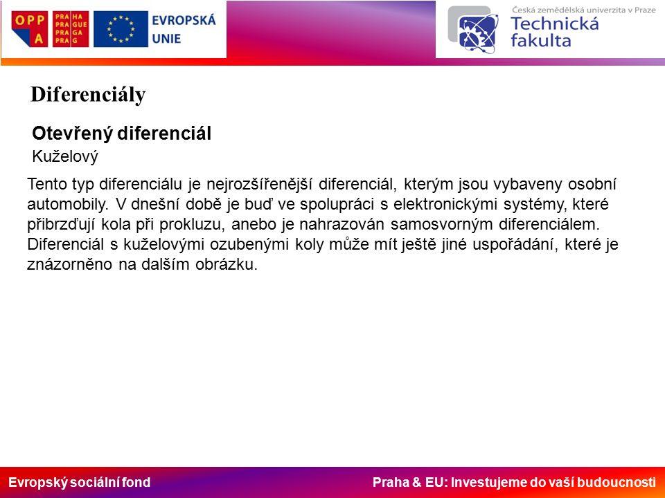 Evropský sociální fond Praha & EU: Investujeme do vaší budoucnosti Otevřený diferenciál Kuželový Tento typ diferenciálu je nejrozšířenější diferenciál, kterým jsou vybaveny osobní automobily.