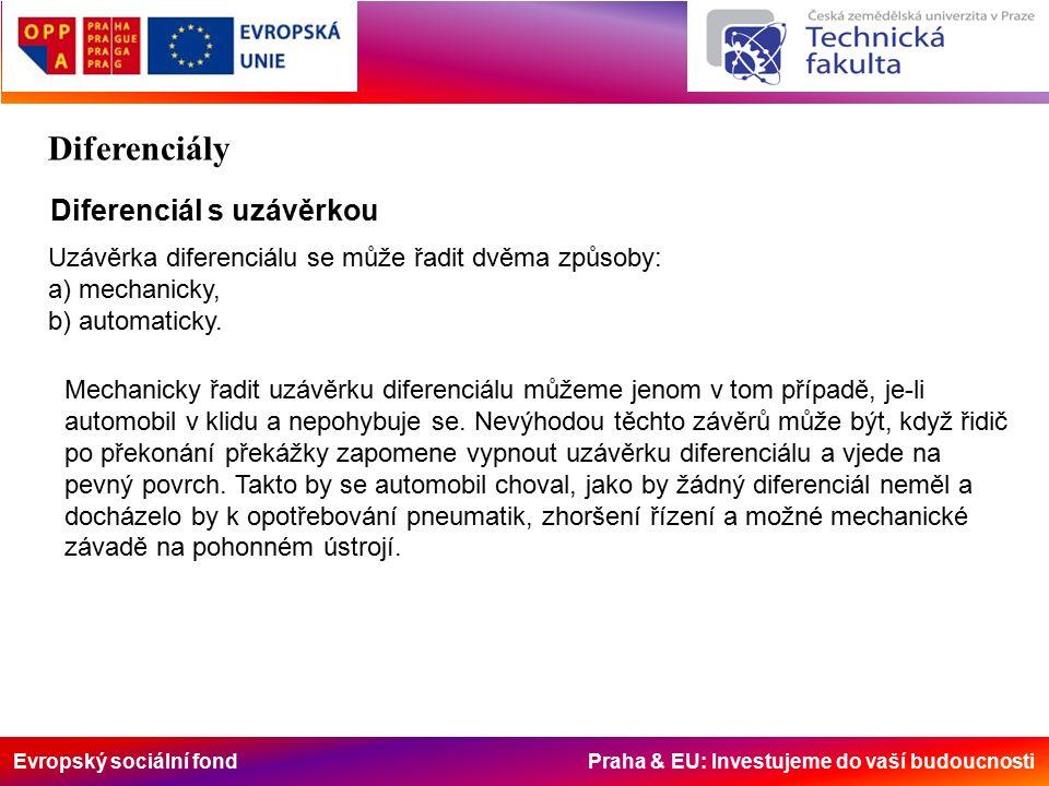 Evropský sociální fond Praha & EU: Investujeme do vaší budoucnosti Diferenciál s uzávěrkou Uzávěrka diferenciálu se může řadit dvěma způsoby: a) mechanicky, b) automaticky.