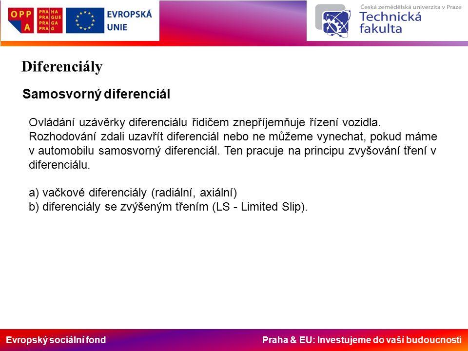 Evropský sociální fond Praha & EU: Investujeme do vaší budoucnosti Samosvorný diferenciál Ovládání uzávěrky diferenciálu řidičem znepříjemňuje řízení vozidla.