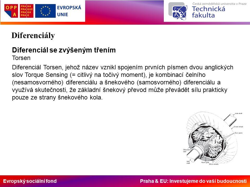 Evropský sociální fond Praha & EU: Investujeme do vaší budoucnosti Diferenciál se zvýšeným třením Torsen Diferenciál Torsen, jehož název vznikl spojením prvních písmen dvou anglických slov Torque Sensing (= citlivý na točivý moment), je kombinací čelního (nesamosvorného) diferenciálu a šnekového (samosvorného) diferenciálu a využívá skutečnosti, že základní šnekový převod může převádět sílu prakticky pouze ze strany šnekového kola.