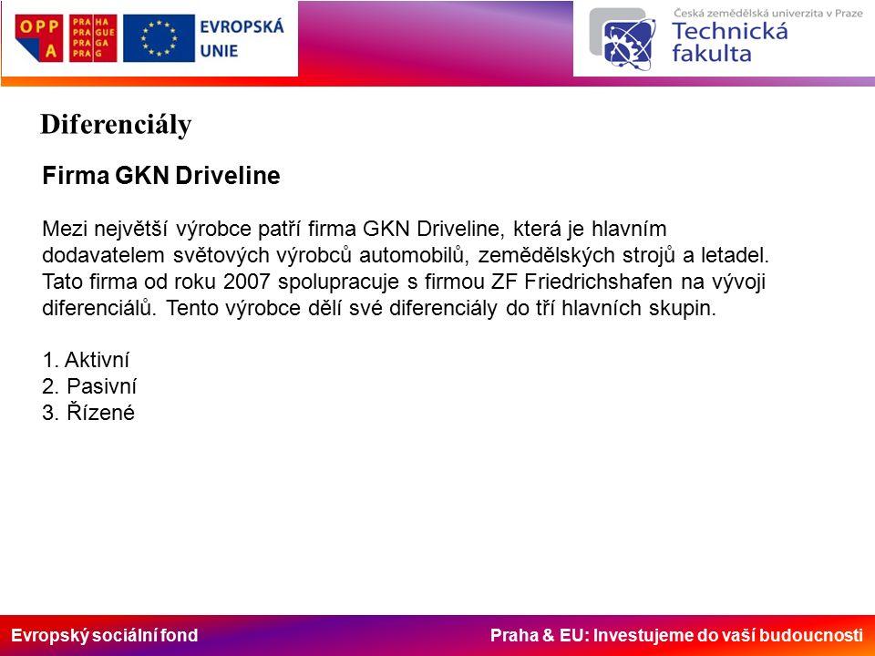 Evropský sociální fond Praha & EU: Investujeme do vaší budoucnosti Firma GKN Driveline Mezi největší výrobce patří firma GKN Driveline, která je hlavním dodavatelem světových výrobců automobilů, zemědělských strojů a letadel.