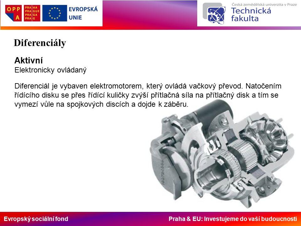 Evropský sociální fond Praha & EU: Investujeme do vaší budoucnosti Aktivní Elektronicky ovládaný Diferenciál je vybaven elektromotorem, který ovládá vačkový převod.