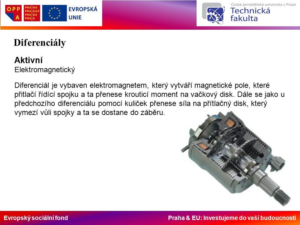 Evropský sociální fond Praha & EU: Investujeme do vaší budoucnosti Aktivní Elektromagnetický Diferenciál je vybaven elektromagnetem, který vytváří magnetické pole, které přitlačí řídící spojku a ta přenese krouticí moment na vačkový disk.