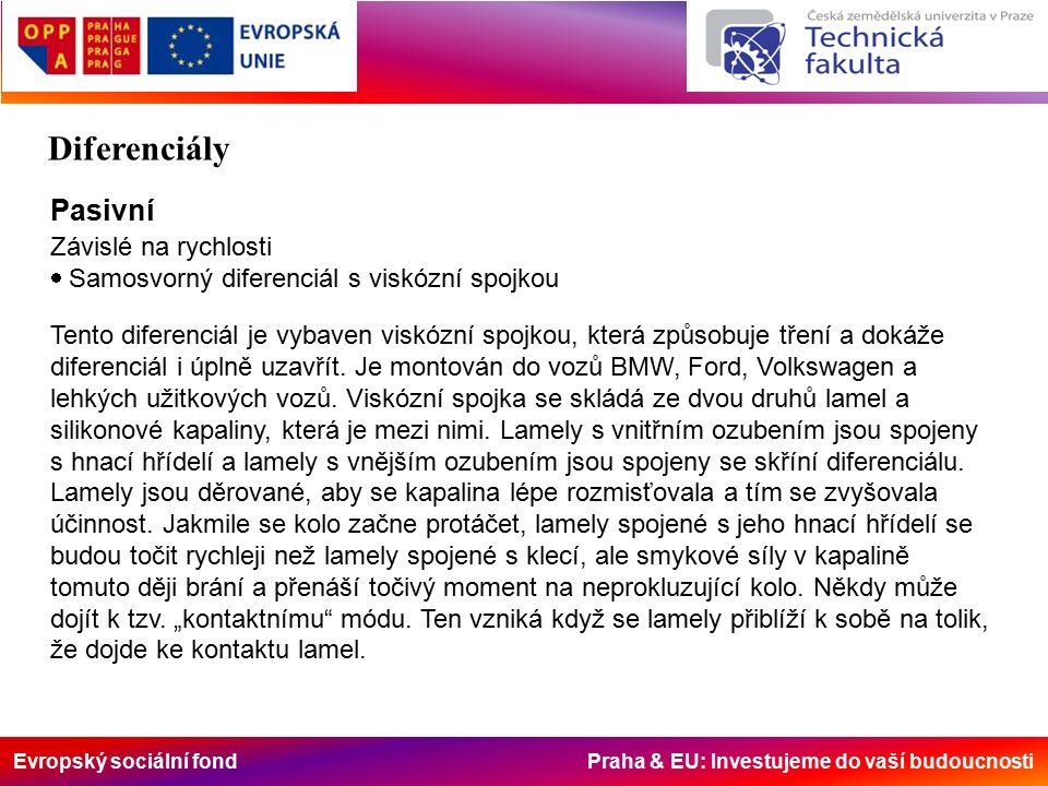 Evropský sociální fond Praha & EU: Investujeme do vaší budoucnosti Pasivní Závislé na rychlosti  Samosvorný diferenciál s viskózní spojkou Tento diferenciál je vybaven viskózní spojkou, která způsobuje tření a dokáže diferenciál i úplně uzavřít.