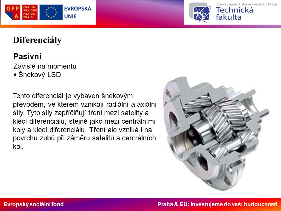Evropský sociální fond Praha & EU: Investujeme do vaší budoucnosti Pasivní Závislé na momentu  Šnekový LSD Tento diferenciál je vybaven šnekovým převodem, ve kterém vznikají radiální a axiální síly.