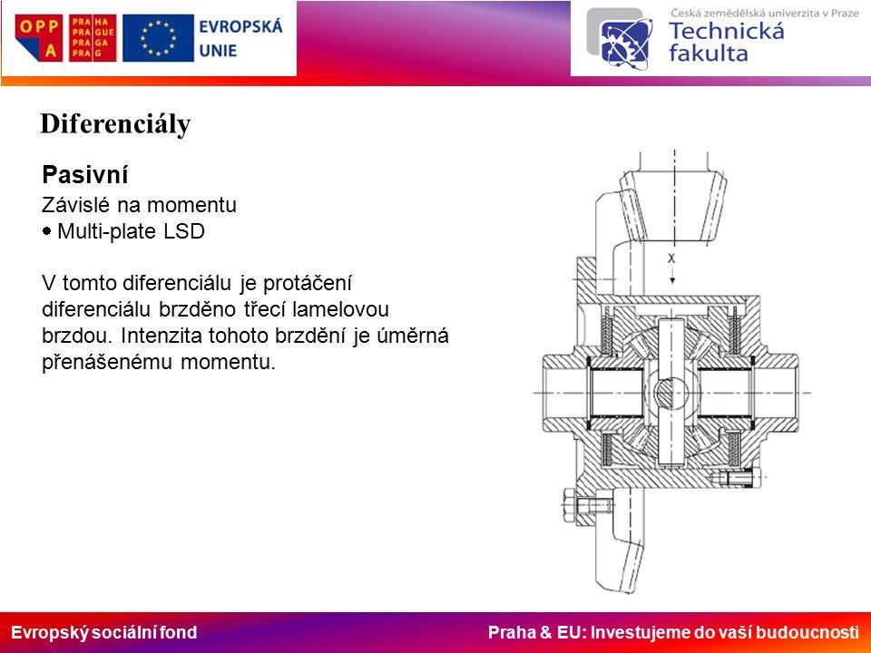 Evropský sociální fond Praha & EU: Investujeme do vaší budoucnosti Pasivní Závislé na momentu  Multi-plate LSD V tomto diferenciálu je protáčení diferenciálu brzděno třecí lamelovou brzdou.