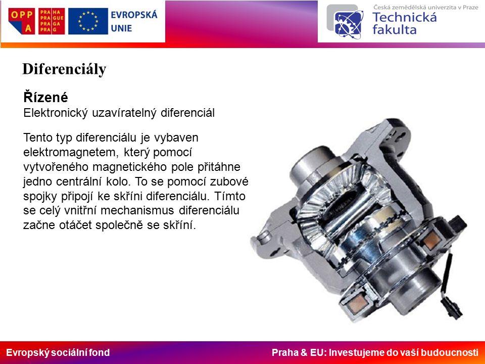 Evropský sociální fond Praha & EU: Investujeme do vaší budoucnosti Řízené Elektronický uzavíratelný diferenciál Tento typ diferenciálu je vybaven elektromagnetem, který pomocí vytvořeného magnetického pole přitáhne jedno centrální kolo.