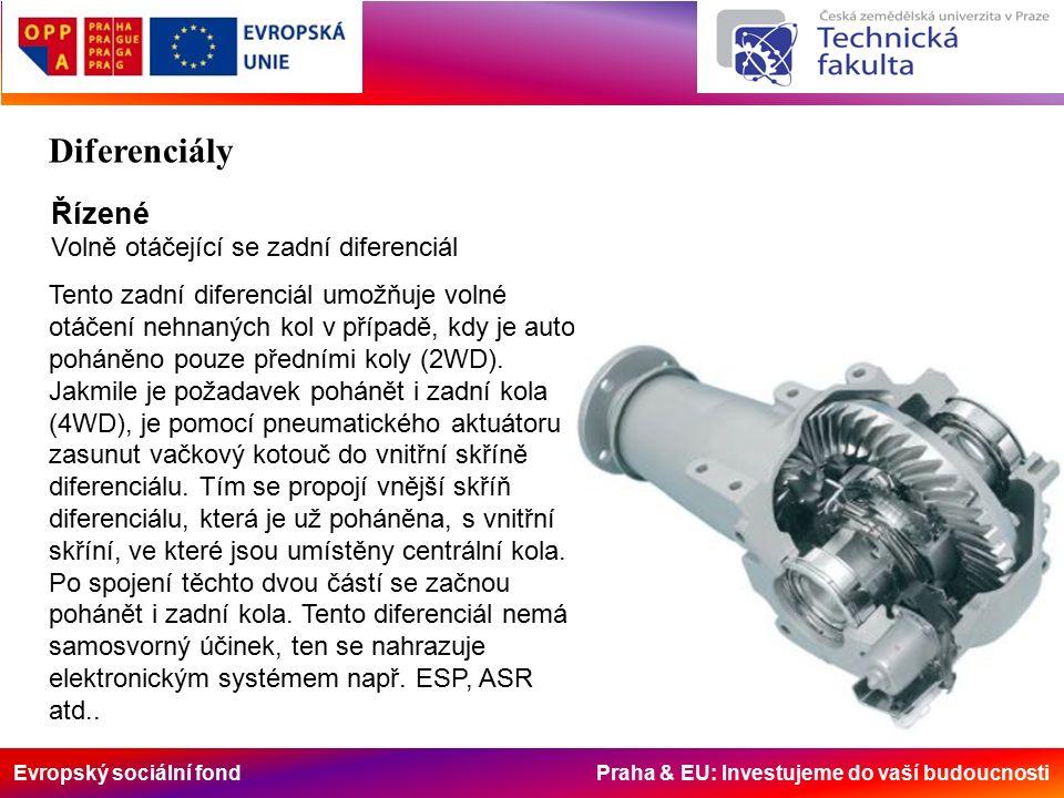 Evropský sociální fond Praha & EU: Investujeme do vaší budoucnosti Řízené Volně otáčející se zadní diferenciál Tento zadní diferenciál umožňuje volné otáčení nehnaných kol v případě, kdy je auto poháněno pouze předními koly (2WD).