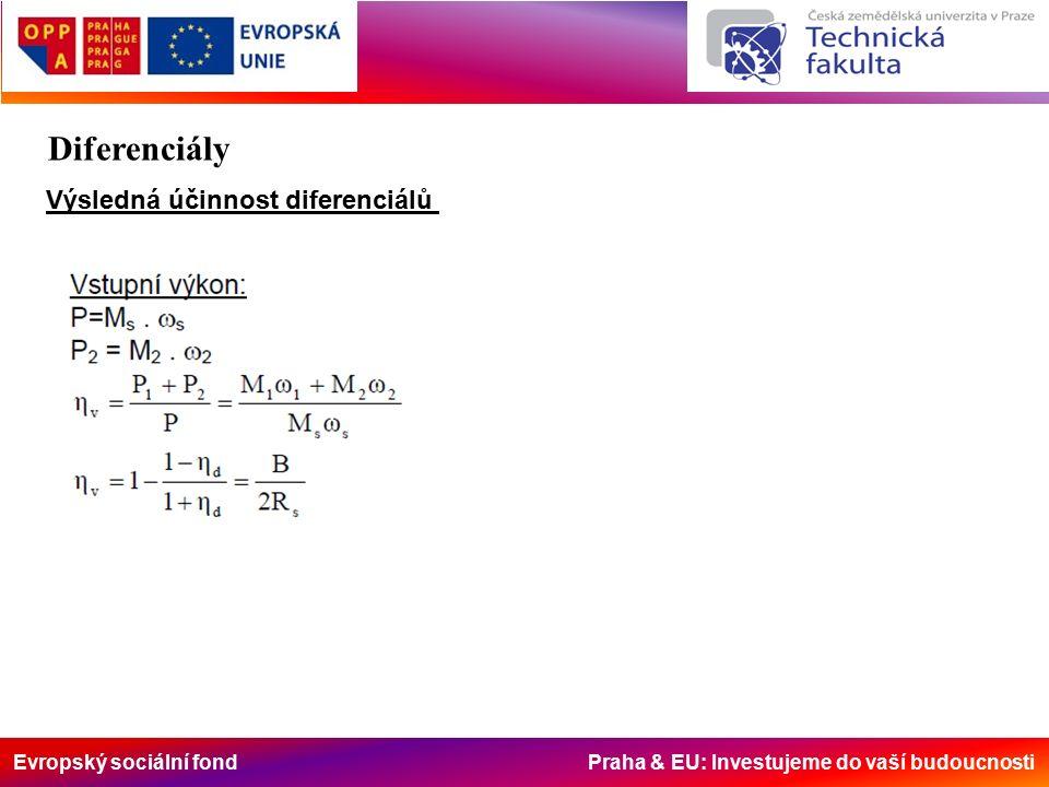 Evropský sociální fond Praha & EU: Investujeme do vaší budoucnosti Výsledná účinnost diferenciálů Diferenciály