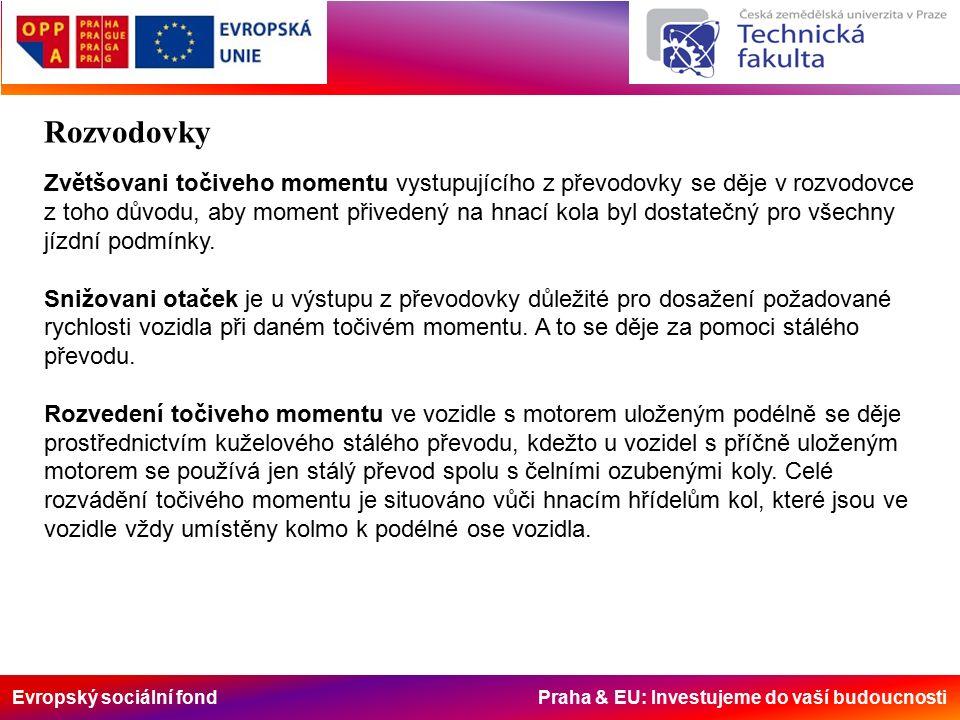Evropský sociální fond Praha & EU: Investujeme do vaší budoucnosti Rozvodovky Zvětšovani točiveho momentu vystupujícího z převodovky se děje v rozvodovce z toho důvodu, aby moment přivedený na hnací kola byl dostatečný pro všechny jízdní podmínky.