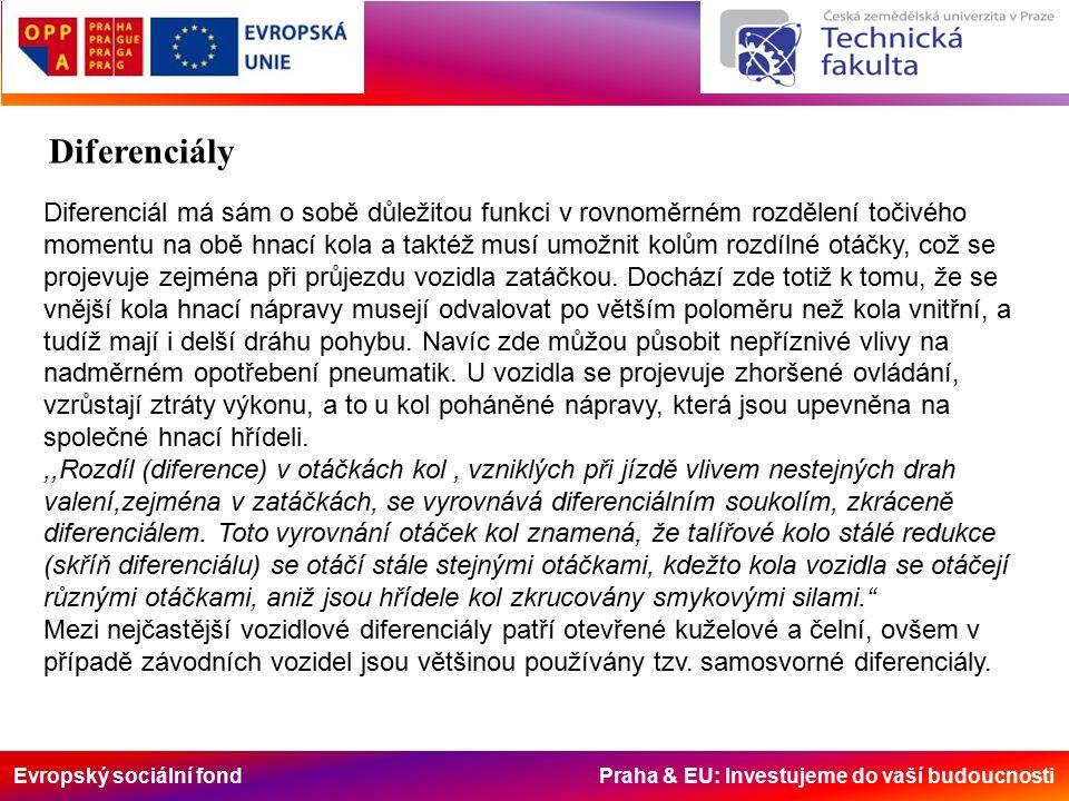 Evropský sociální fond Praha & EU: Investujeme do vaší budoucnosti Diferenciály Diferenciál má sám o sobě důležitou funkci v rovnoměrném rozdělení točivého momentu na obě hnací kola a taktéž musí umožnit kolům rozdílné otáčky, což se projevuje zejména při průjezdu vozidla zatáčkou.