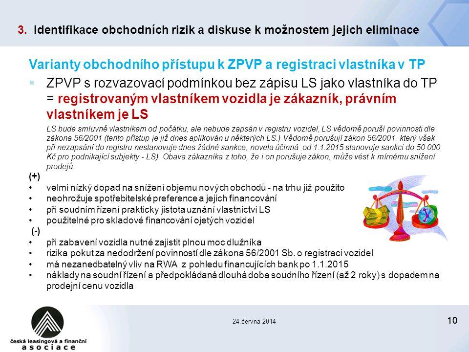 10 24.června 2014 Varianty obchodního přístupu k ZPVP a registraci vlastníka v TP  ZPVP s rozvazovací podmínkou bez zápisu LS jako vlastníka do TP = registrovaným vlastníkem vozidla je zákazník, právním vlastníkem je LS LS bude smluvně vlastníkem od počátku, ale nebude zapsán v registru vozidel, LS vědomě poruší povinnosti dle zákona 56/2001 (tento přístup je již dnes aplikován u některých LS.) Vědomě porušují zákon 56/2001, který však při nezapsání do registru nestanovuje dnes žádné sankce, novela účinná od 1.1.2015 stanovuje sankci do 50 000 Kč pro podnikající subjekty - LS).
