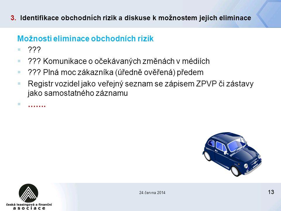 13 24.června 2014 Možnosti eliminace obchodních rizik  .
