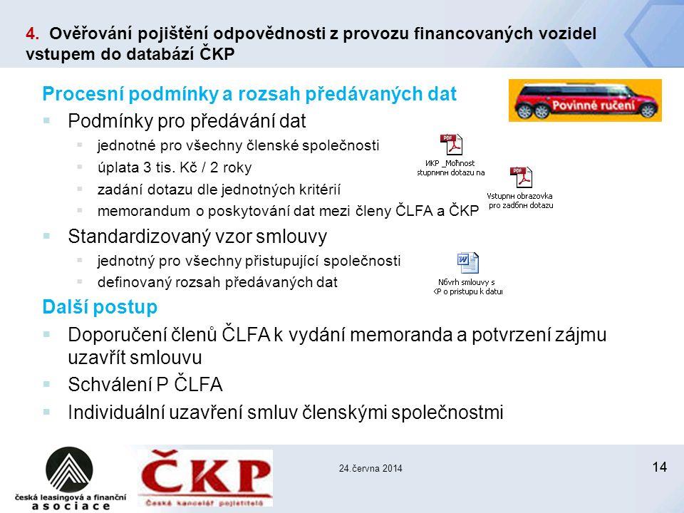 14 24.června 2014 Procesní podmínky a rozsah předávaných dat  Podmínky pro předávání dat  jednotné pro všechny členské společnosti  úplata 3 tis.