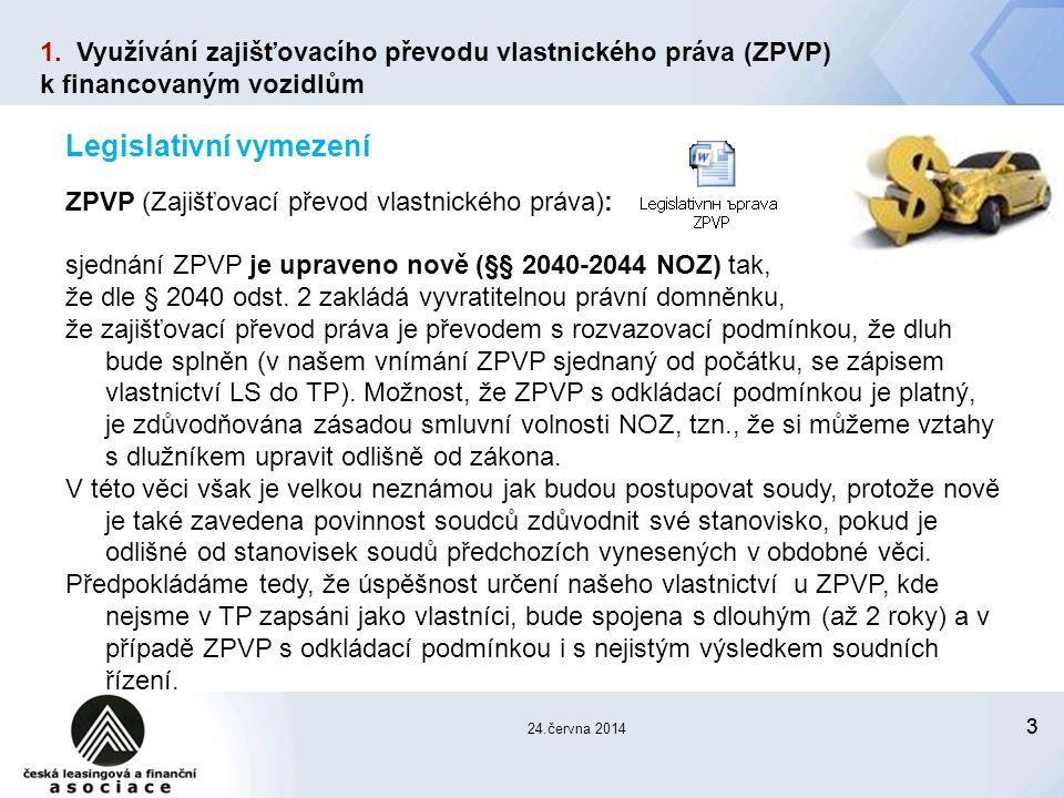 33 24.června 2014 Legislativní vymezení ZPVP (Zajišťovací převod vlastnického práva): sjednání ZPVP je upraveno nově (§§ 2040-2044 NOZ) tak, že dle § 2040 odst.