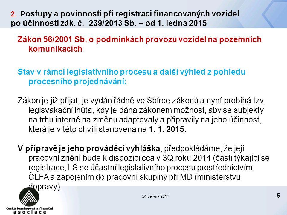 55 24.června 2014 Zákon 56/2001 Sb.