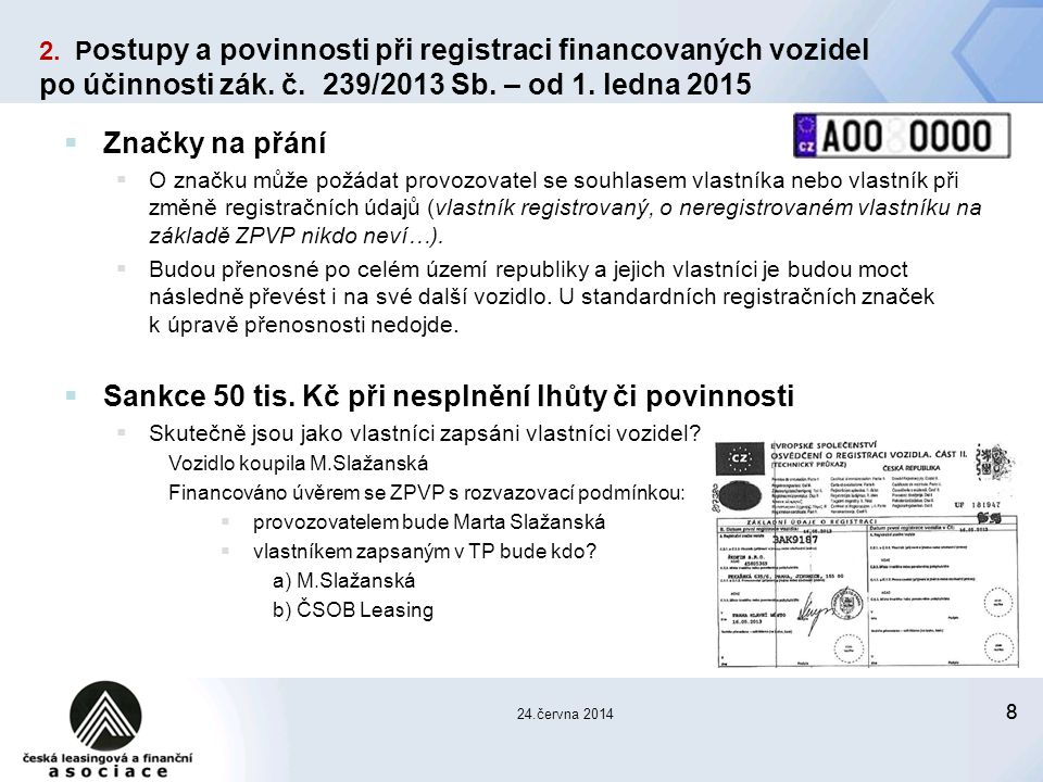 88 24.června 2014 2. P ostupy a povinnosti při registraci financovaných vozidel po účinnosti zák.