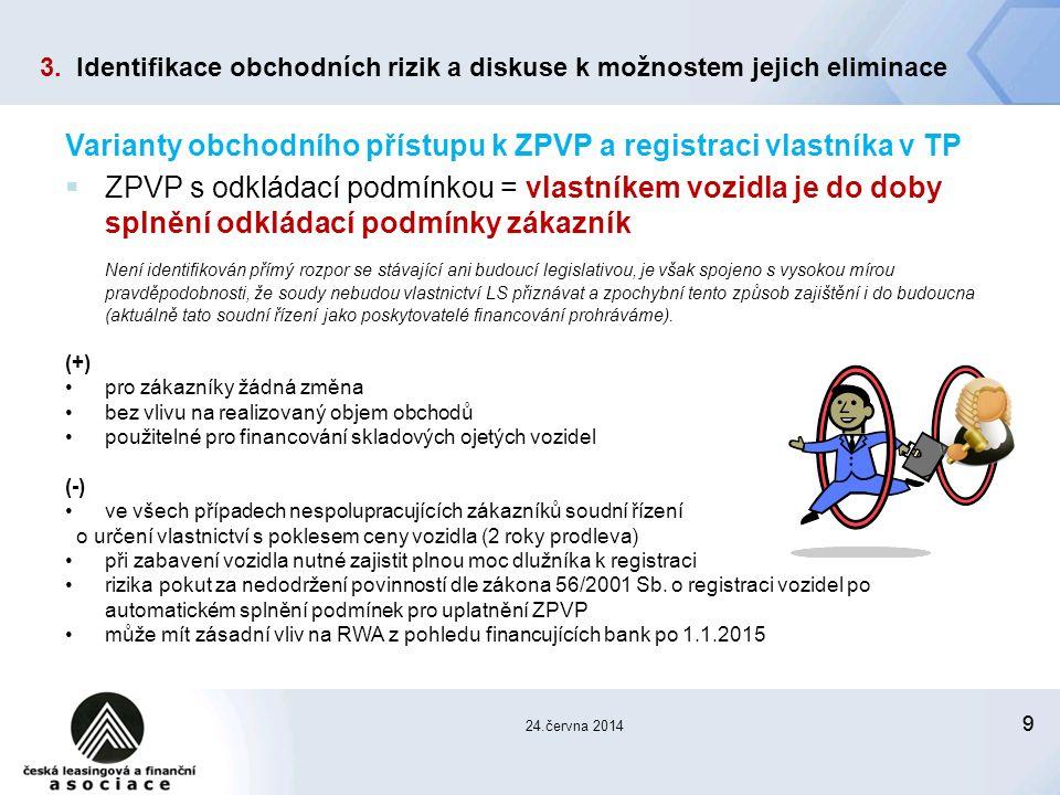 99 24.června 2014 Varianty obchodního přístupu k ZPVP a registraci vlastníka v TP  ZPVP s odkládací podmínkou = vlastníkem vozidla je do doby splnění odkládací podmínky zákazník Není identifikován přímý rozpor se stávající ani budoucí legislativou, je však spojeno s vysokou mírou pravděpodobnosti, že soudy nebudou vlastnictví LS přiznávat a zpochybní tento způsob zajištění i do budoucna (aktuálně tato soudní řízení jako poskytovatelé financování prohráváme).