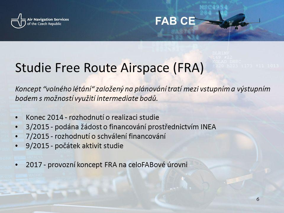 """FAB CE Studie Free Route Airspace (FRA) Koncept """"volného létání"""" založený na plánování tratí mezi vstupním a výstupním bodem s možností využití interm"""
