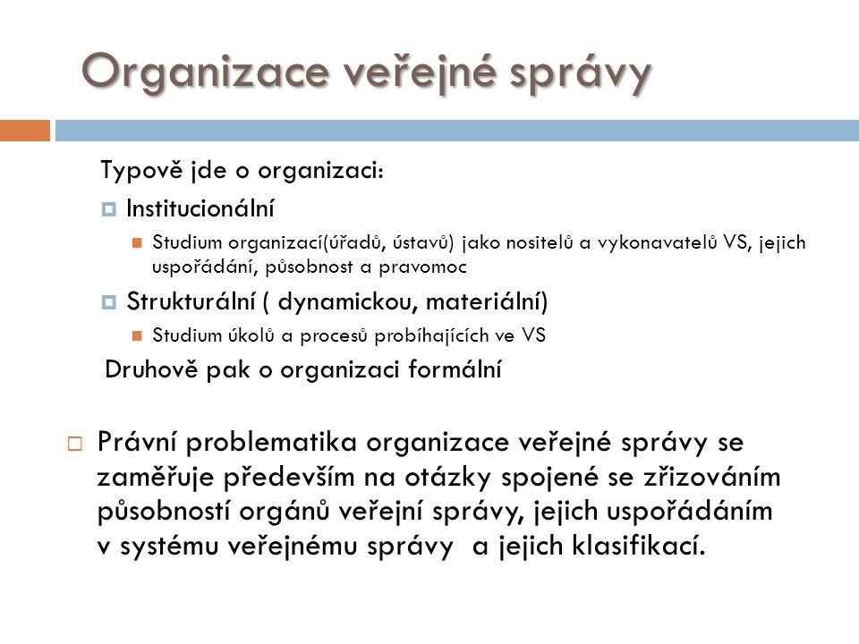 Organizační typy uplatňované ve veřejné správě Hierarchický (byrokratický) – cca do 60 let.