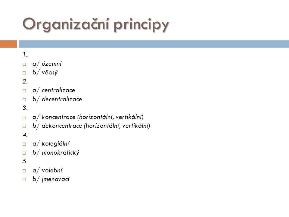 Organizační principy 1.  a/ územní  b/ věcný 2.
