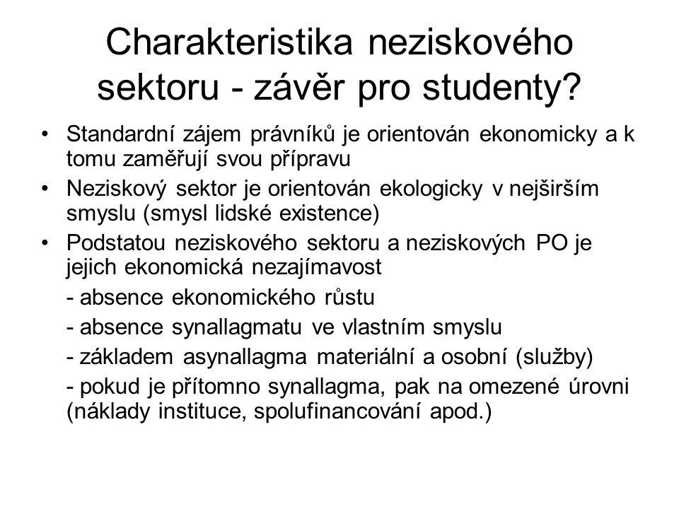 Charakteristika neziskového sektoru - závěr pro studenty? Standardní zájem právníků je orientován ekonomicky a k tomu zaměřují svou přípravu Neziskový