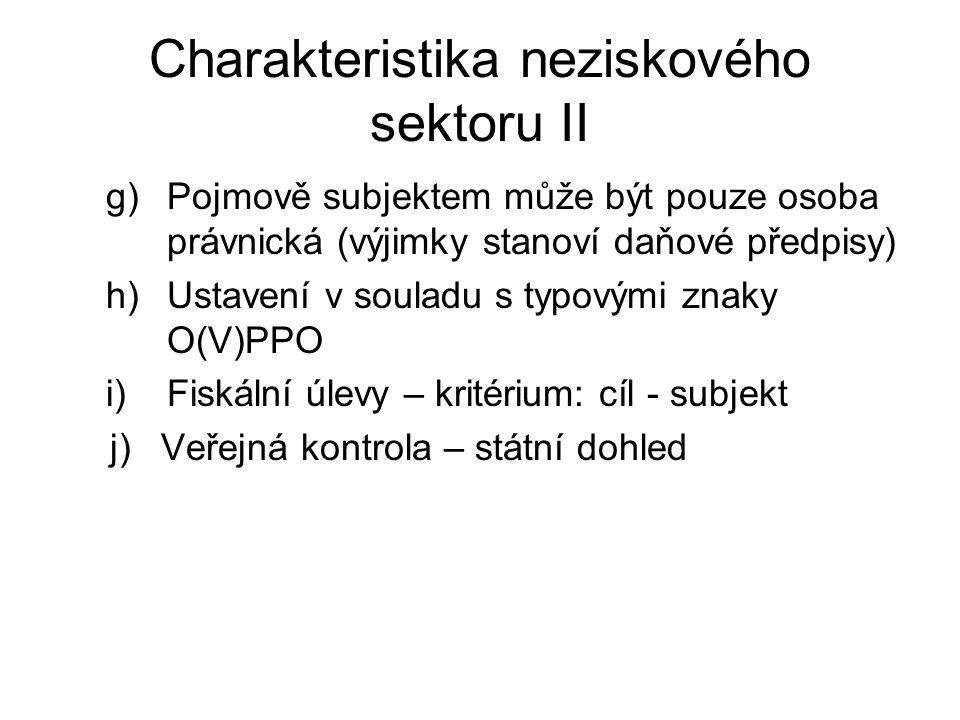 Charakteristika neziskového sektoru II g)Pojmově subjektem může být pouze osoba právnická (výjimky stanoví daňové předpisy) h)Ustavení v souladu s typ